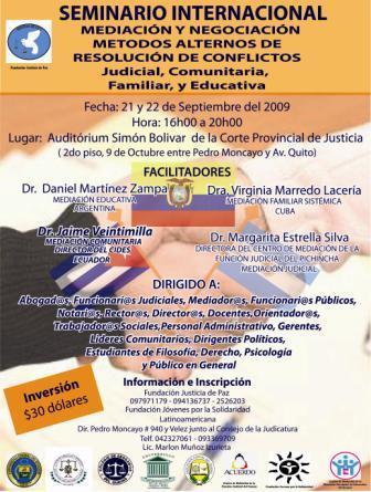 SEMINARIO INTERNACIONAL SOBRE MEDIACION JUDICIAL, EDUCATIVA, FAMILIAR Y COMUNITARIA